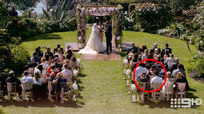 Wedding crasher: James Weir lurks at a Married At First Sight wedding.
