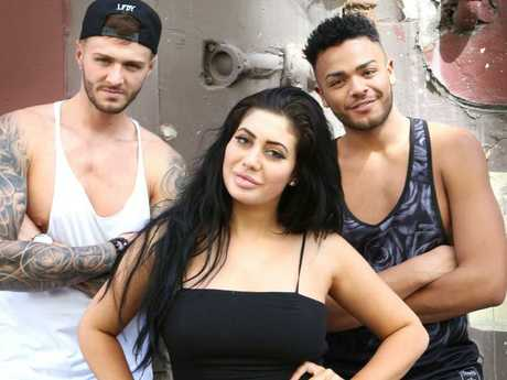 Geordie Shore's Kyle Christie, Nathan Henry and Chloe Ferry visit Sydney. Picture: Bob Barker.