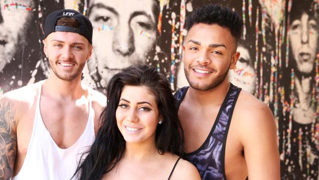 Geordie Shore cast in Sydney — Kyle Christie, Nathan Henry and Chloe Ferry. Photo: Bob Barker.