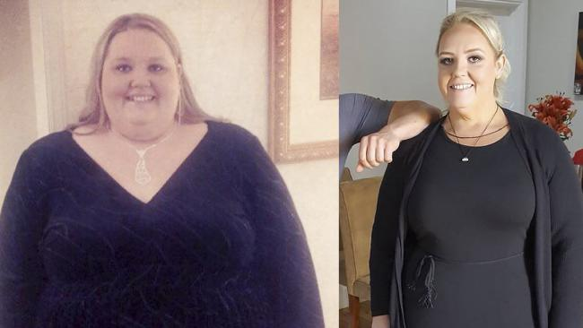 Sarah before and after weight loss. Picture: Sarah Kumar/Caters News Woman turns life around and loses 100kg