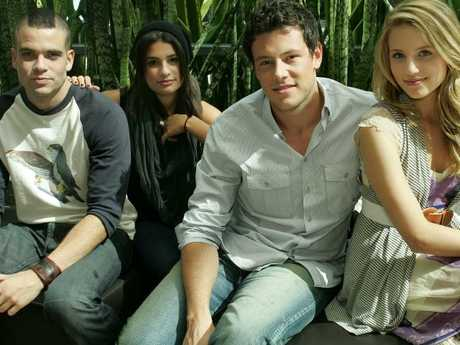 Glee cast members (L to R) Mark Salling, Lea Michele, Cory Monteith and Dianna Agron. Picture:  Supplied