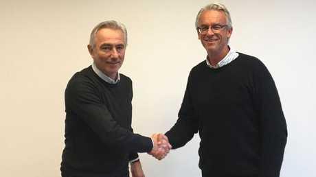 Bert Van Marwijk with David Gallop.