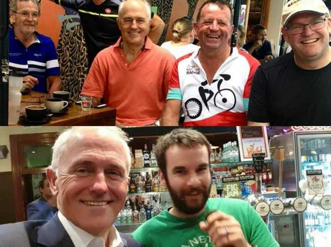 Prime Minister Malcolm Turnbull has coffee at Ground Up Espresso this morning and went to The Spotted Cow last night, pictured with trivia host Bernard Laherty.