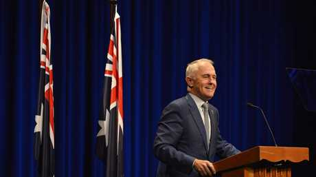 Prime Minister Malcolm Turnbull gives a national address from the Empire Theatre, Thursday, February 1, 2018.