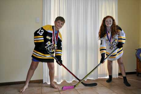 Hugh and Ariel Campbell are some of the only people in the region who play ice hockey.