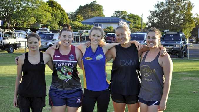 Some of the new Coolaroo women's team (from left) Hannah Mcconochie, Jessica Stevenson, Jemma Whitney, Jayne Poulos and Jemma Payne kick off pre-season training at Gold Park.