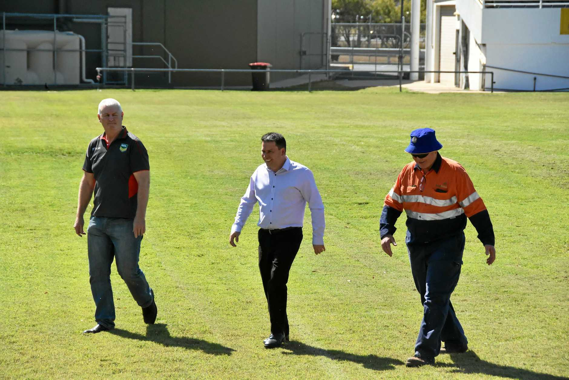 Gladstone NRL match bid - (from left): NRL general manager of football, venues and broadcaster relations Shaun Wendt, Gladstone Region mayor Matt Burnett and Gladstone Rugby League president Richard Duff at Marley Brown Oval.