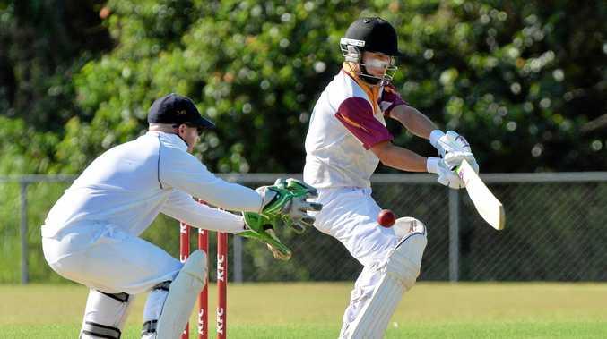 ATTACKING: Tewantin-Noosa batsman Chris Whitworth.