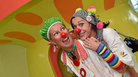 The Sunshine Coast Clown Doctors are celebrating a year of giggles and gags to benefit the Coast's youngest patients. Doctor's Alison Lambole, aka Dr Nincompoop, and Michelle Lamarca, aka Dr Loopy.
