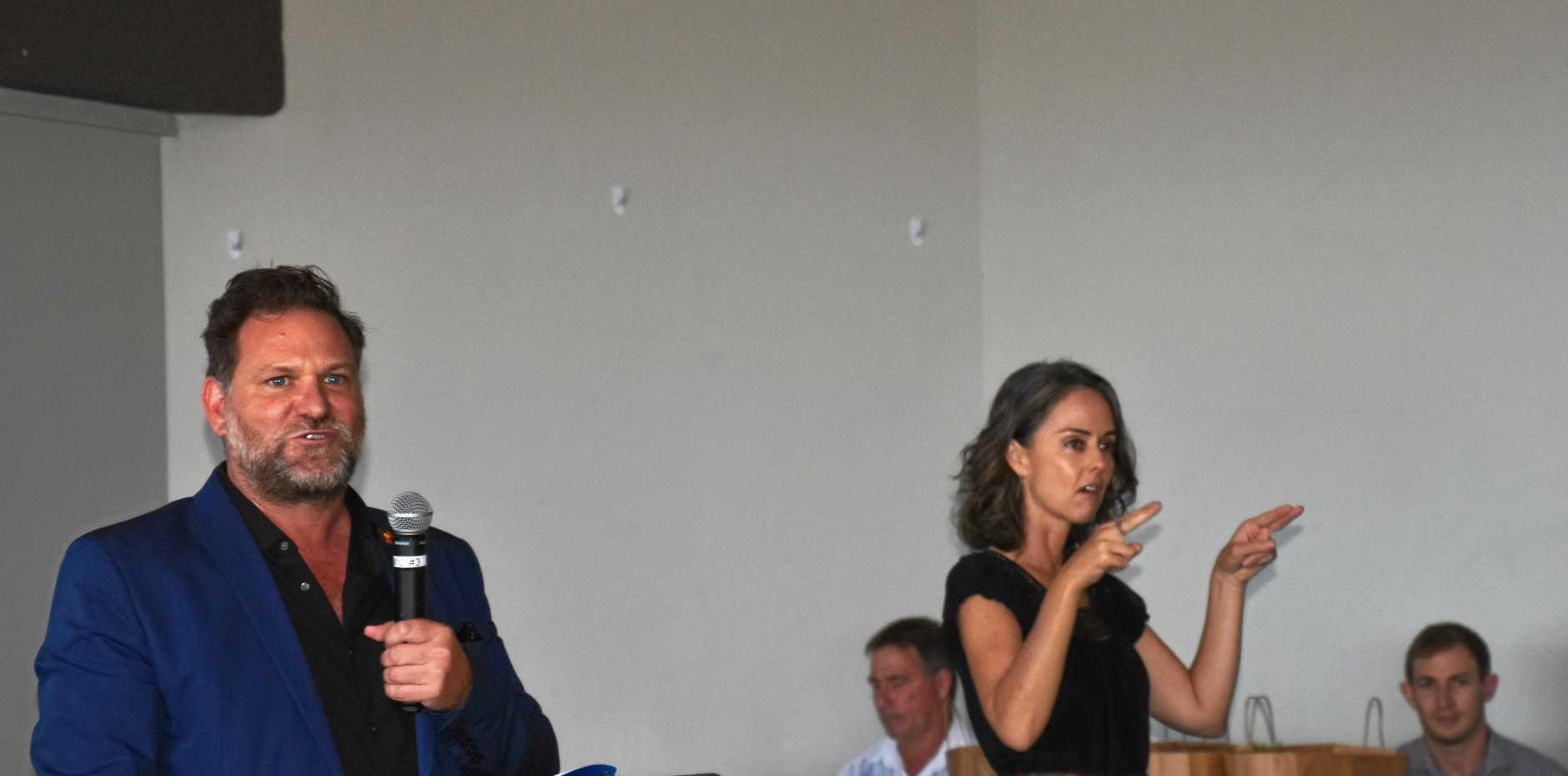 A SIGN: Auslan interpreter Alison Toft  at the Australia Day Ceremony  with mayor Simon Richardson.
