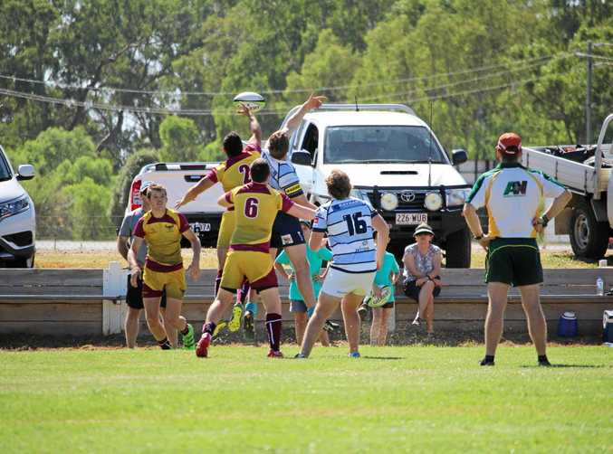 The Raging Bulls win a line-out during last year's Roma Rugby Sevens at Gallas Fox Park.