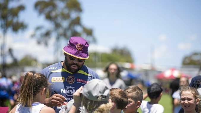 POPULAR VISITOR: Brisbane Broncos' international forward Sam Thaiday during a fan-day visit to Dalby last season.