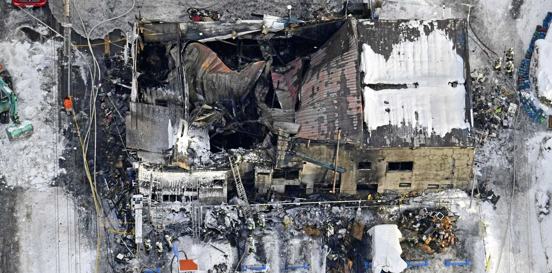 An aerial picture shows the burnt-out Soshiaru Heim, a self-reliance support facility, in Hokkaido Prefecture, Japan.