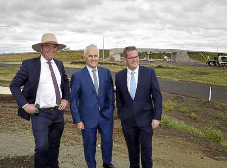 At Charlton, from left; Barnaby Joyce, Malcom Turnbull and John McVeigh. Prime Minister, Malcolm Turnbull.  visit Toowoomba. February 2018