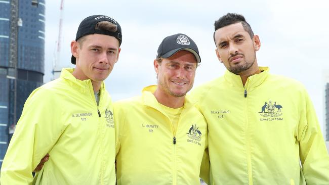 Alex de Minaur, Lleyton Hewitt and Nick Kyrgios ahead of the Davis Cup. Picture: Liam Kidston