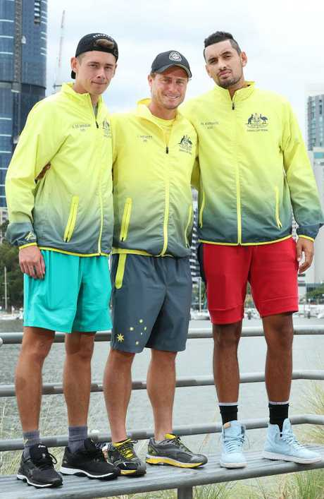 Australian Captain Lleyton Hewitt with singles players Alex de Minaur and Nick Kyrgios. Picture: Liam Kidston