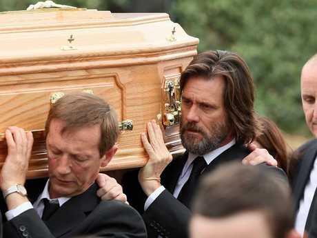 Jim Carrey at the funeral of Cathriona White in ireland in 2015. Picture: Splash News