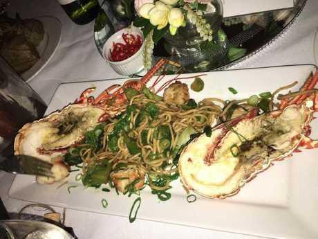 The lobster and noodle platter served to Ben Bui and Wendy Lam during their wedding reception at Maison Melbourne.