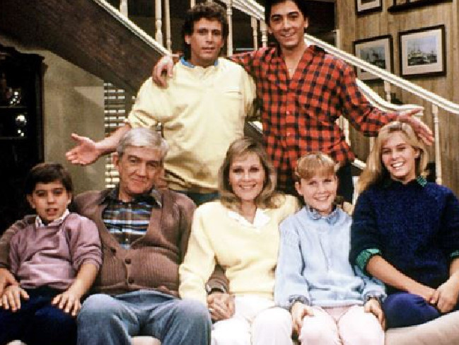 Scott Baio (top right) and Nicole Eggert (bottom, far right) appeared in the hit TV show, Charles in Charge. Picture: Supplied