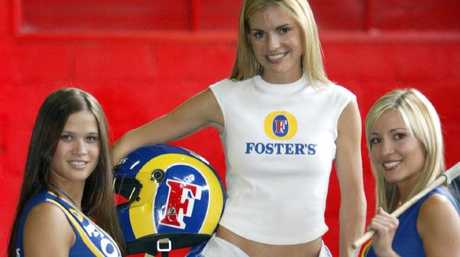 Face of the 2003 Australian Formula One Grand Prix, Grace McClure (centre) with Grid Girls Atisa DeKrestser and Zoe Pappas.   Picture: Supplied