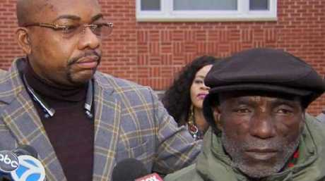 Mr Ukesone (right) and his family lawyer Alex Ogoke speak to the media. Picture: ABC-WLS