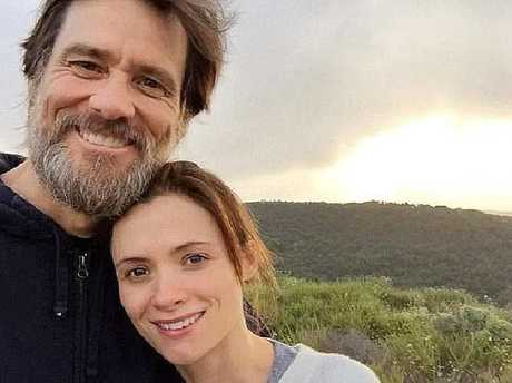 Jim Carrey and cathriona White in happier times. Picture: Instagram