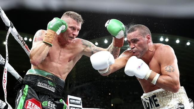 Danny Green and Anthony Mundine fight it out in Adelaide last year. Picture: Sarah Reed