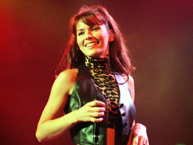 Shania Twain on stage in Brisbane in February 1999. Pic: Supplied.