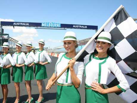 Grid Girls Ashlee Kirwan and Cassie Wainwright. Picture: Brendan Francis