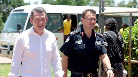 Michael Gunner and Police Commissioner Reece Kershaw on Wednesday