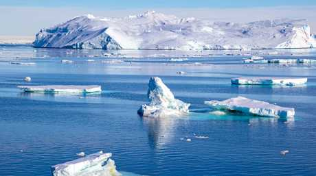 An Antarctic iceberg field.