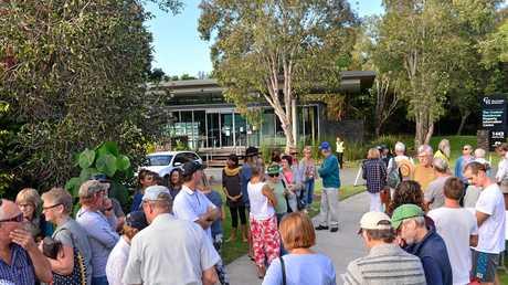 Community members try to gain admission to Sekisui forum outside Sekisui House back in May, 2016. Photo: John McCutcheon / Sunshine Coast Daily