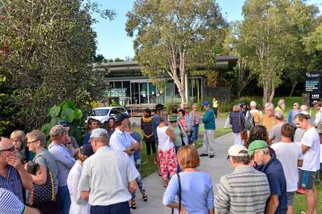 Community members try to gain admission to Sekisui forum outside Sekisui House back in May, 2016. Photo: John McCutcheon / Sunshine Coast Daily