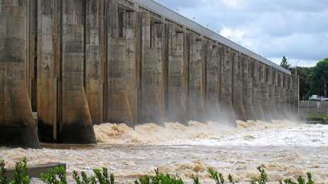The Fitzroy River Barrage in flood.