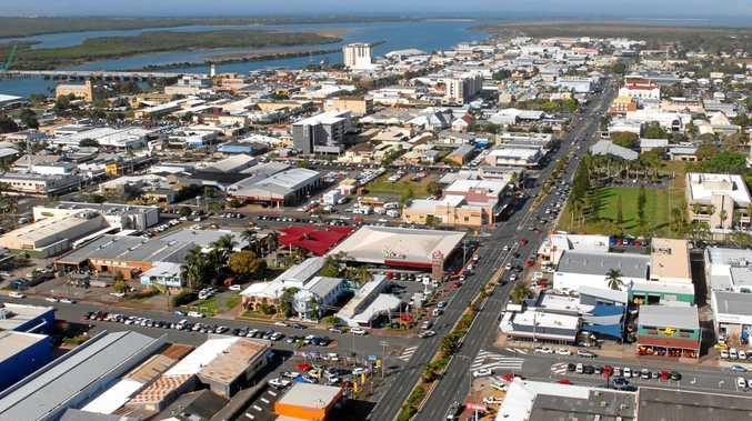 Aerial shot of Mackay city