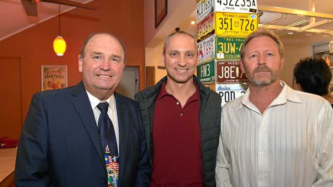 END OF AN ERA: Function at Hog's Breath, Mooloolaba, for athletes heading to Rio in 2016. Benny Pike, Stephan Widmer and Russell Sherwell.