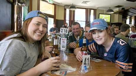 Enjoying American beer are (from left) Emma Clague, Josh Kemp, Nick Myatt and Katie Wright.
