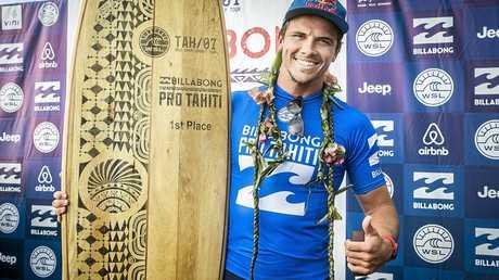 Julian Wilson after winning the final of the Billabong Pro at Teahupo'o, Tahiti.