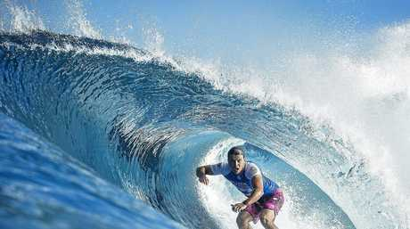 Julian Wilson in action at the Billabong Pipe Masters in Hawaii last December.