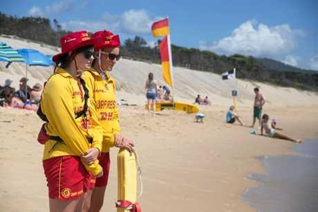 Mikaela Hicks and Zara Beckett, from the Coffs Harbour Surf Lifesaving Club, on patrol at Park Beach.  04 JANUARY 2015  Photo Gemima Harvey/Coffs Coast Advocate
