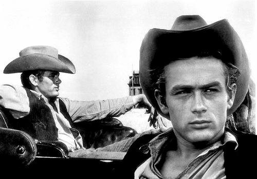 James Dean on the set of 'Giant' in 1955.