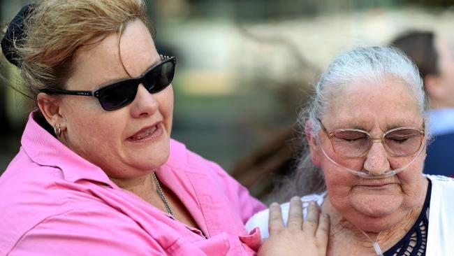 Dallas Holland's partner, Tina Morley and his mother Julie Reid outside the Brisbane court. Morley was back in court two days later, this time as part of a trio of drug offenders including a snake catcher and his uncle.