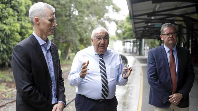 David Oxenham from Tweed Shire Council, Lismore MP Thomas George and Minister for Regional Development John McVeigh in Murwillumbah on Friday.