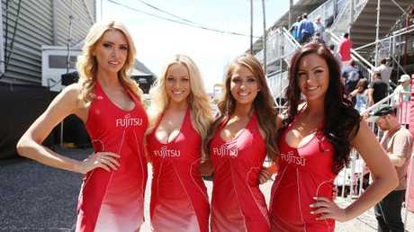 Banned ... grid girls next to the pit lane.