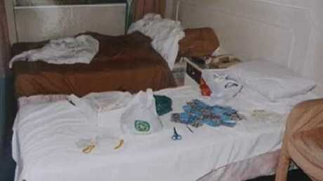 The hotel room where Diaz and Vo were arrested with heroin on the bed, scissors and condoms.