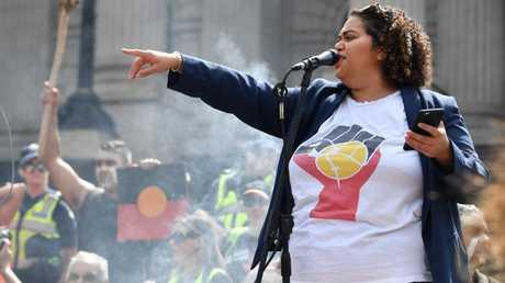 Invasion Day rally organiser Tarneen Onus-Williams. Picture: AAP Image/James Ross