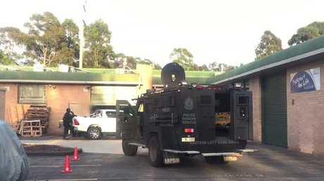 NSW Police armoured vehicle at the North Wollongong Finks bikie clubhouse. Picture: Strike Force Rednap