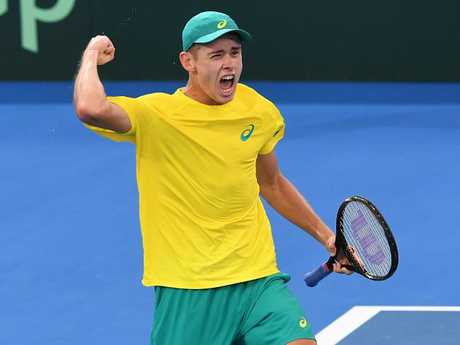 A pumped Alex de Minaur pushed Alexander Zverev all the way. Picture: AAP