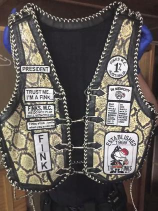 Finks president's vest seized by police. Picture: Strike Force Rednap