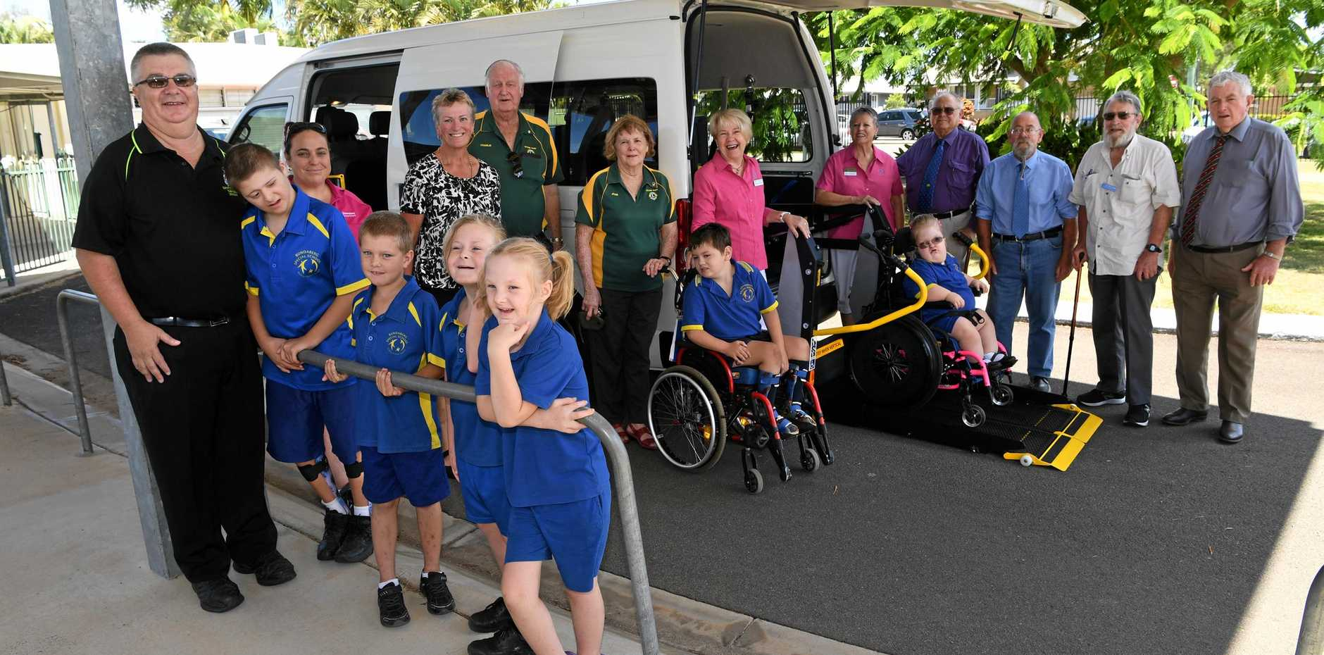 SPECIAL SCHOOL BUS: Liam, Eddie, Ellie-May, Natayleah, Dallas and Hannah have a new school bus thanks to generous donations from various community groups. Representatives from the Masonic Hand Heart Pocket Charity, Quota, Lions Moore Park, The Spotted Dog Tavern and St Johns Grace Fund were there to celebrate the new vehicle.